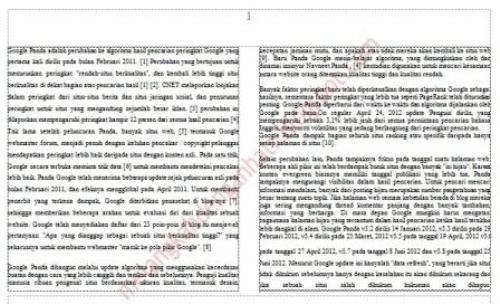 Cara print halaman word 2007 menjadi 2 kolom