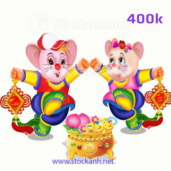 Cặp chuột vàng in lịch tết 2020