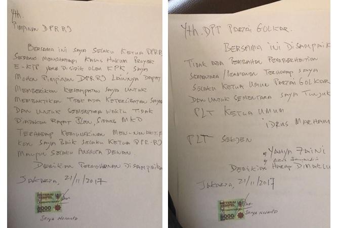 Tulisan tangan Setya Novanto