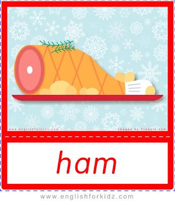 ham, Christmas food flashcards