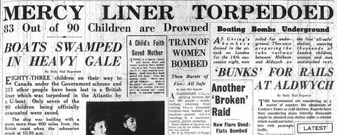 23 September 1940 worldwartwo.filminspector.com City of Benares headline