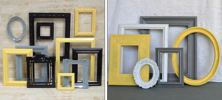 Sala De Estar Cinza E Amarelo ~ Fazer uma parede com quadros em preto, branco, cinza e amarelo pode
