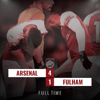 Pierre-Emerick Aubameyang moved clear of Mohamed Salah in the scoring charts as Arsenal eased past Fulham on New Year's Day.