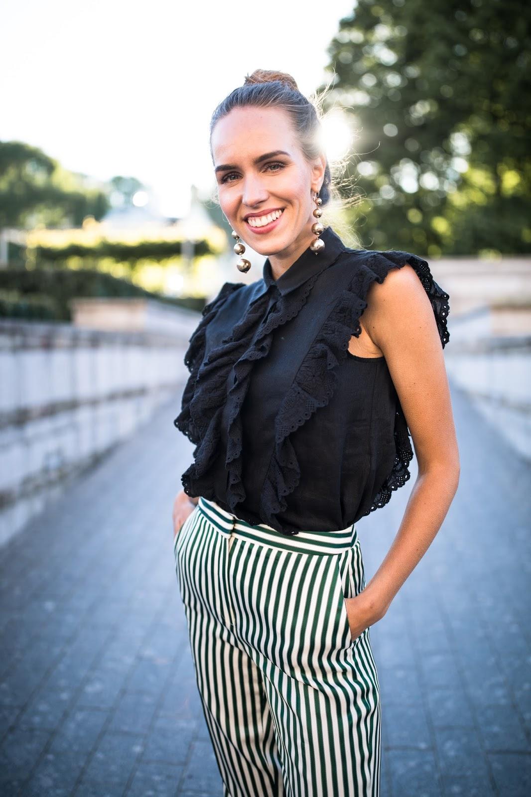 black ruffle linen sleeveless top outfit