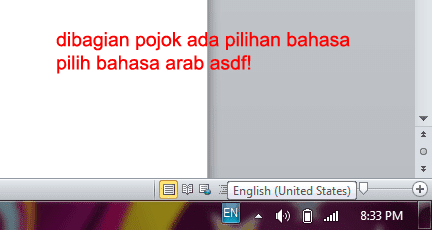 Cara mengetik arab di Windows 7
