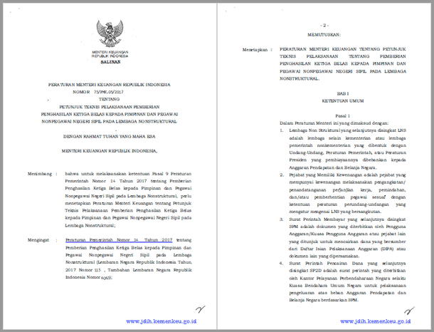 PMK Nomor 75/PMK.05/2017 Tentang Juknis Pemberian Gaji Ketiga Belas Kepada Pimpinan dan Pegawai Non PNS Pada Lembaga Nonstruktural