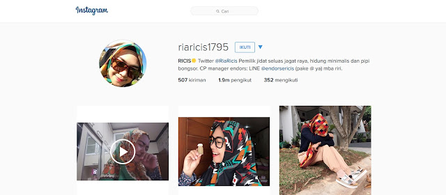 Profil Ria Ricis Dalam Instagram   Ria Ricis Adik Oki Setiana Dewi - Alya Hijab