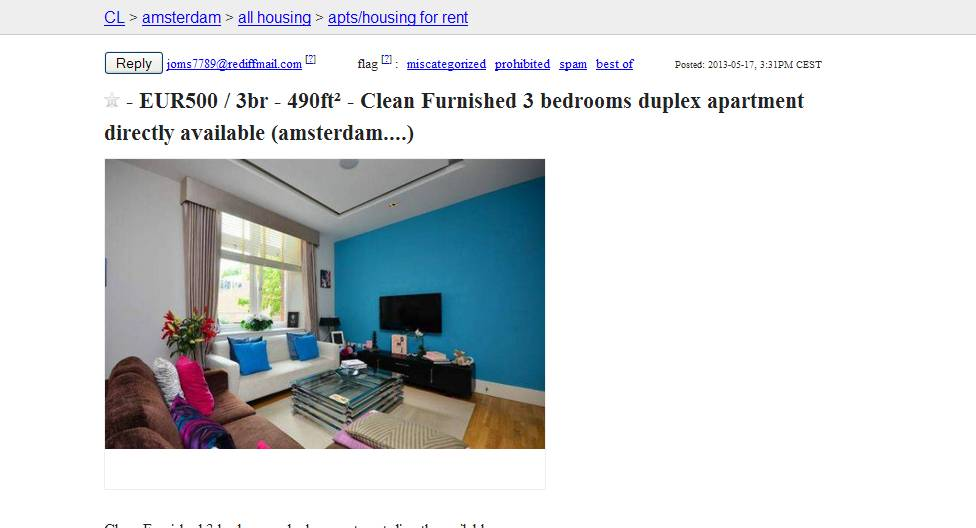 Joms7789 vorkassebetrug fraud scam for Available 3 bedroom apartments
