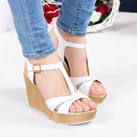 Sandale Piele Hanna albe cu platforma • modlet
