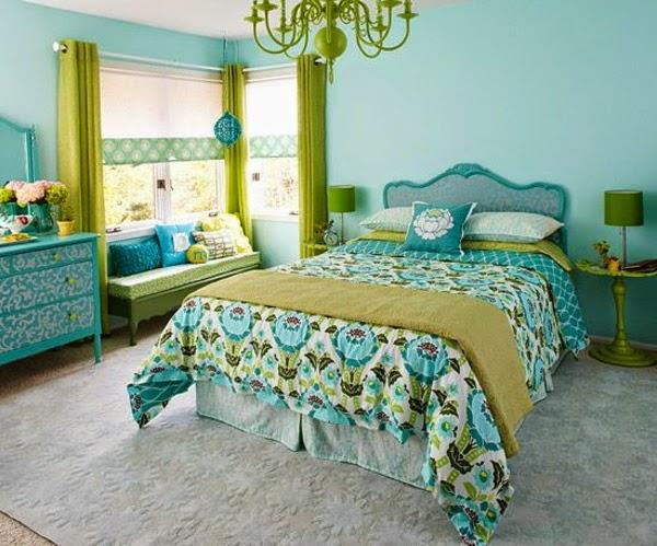 Habitacin en verde y azul  Ideas para decorar dormitorios