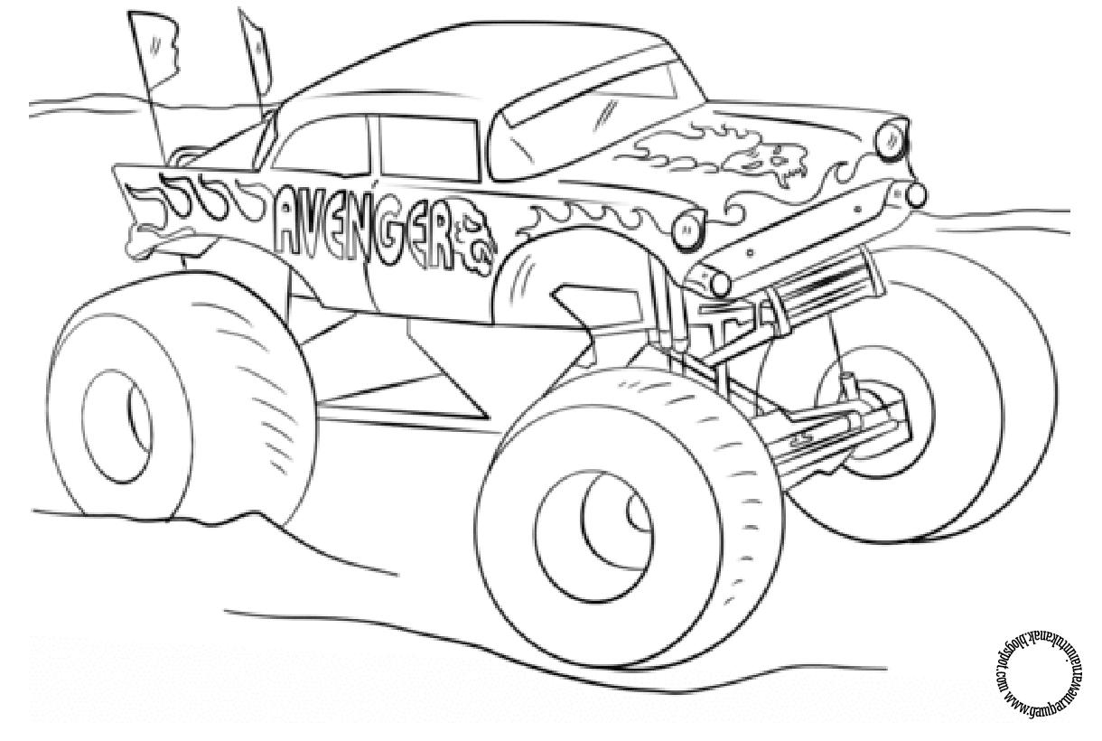 Gambar Mewarnai Mobil Monster Truck Untuk Anak