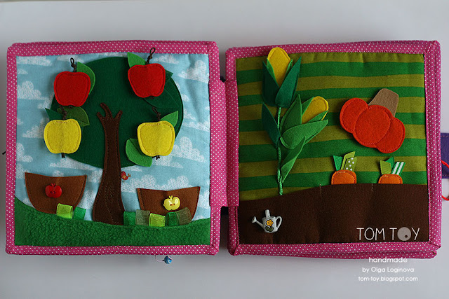 Quiet book for Olivia. Handmade busy cloth book for a girl, apple tree, vegetables garden quiet book page