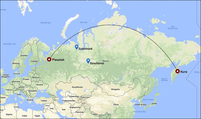 Bản đồ cho thấy vị trí phóng tên lửa là từ Plesetsk và vị trí đích đến là Kura ở bờ biển Thái Bình Dương của Nga. Hình ảnh: Google Maps/The Siberian Times.