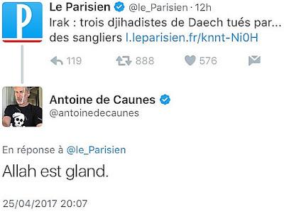 Tweet d'Antoine de Caunes