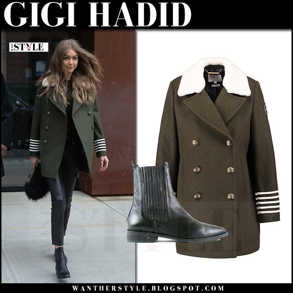 Gigi Hadid in green military style coat tommy x gigi, black leather pants and black boots freda salvador strong what she wore