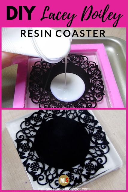Black and white lacey doiley resin coaster inspiration sheet