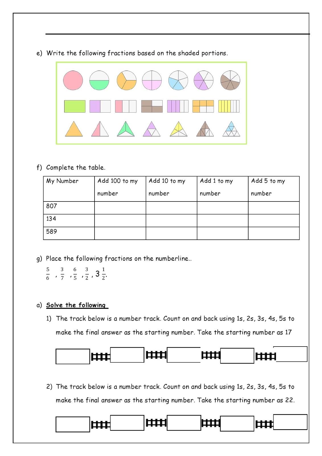 Birla World School Oman Revision Worksheets For Grade 3 As On 26 10