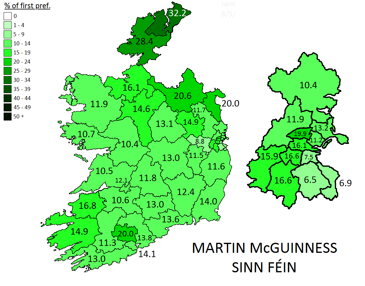 Martin McGuinness' first preference votes