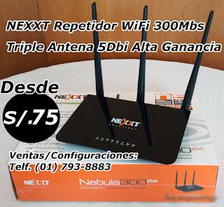 Repetidor Wifi 300Mb Triple Antena Alta Ganancia, Mayor cobertura y sin cables, en Lince y Los Olivos, Lima Peru