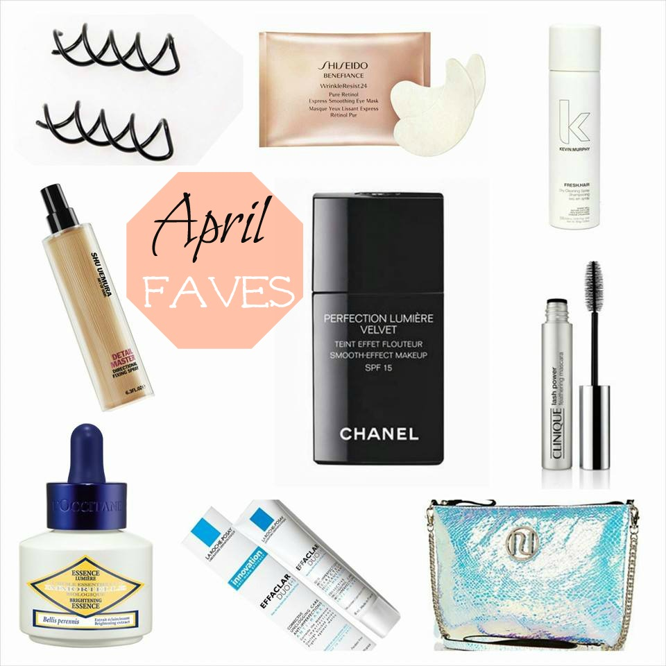 Shiseido Benefiance Retinol masks, eye masks, Kevin Murphy Dry Shampoo, Shu Uemura directional fixing spray, Hairspray, Loccitane Brightening Essence, La roche posay Effaclar duo +, River Island Iridescent clutch, Clinuque Feathering Mascara, Feathered Mascara, Chanel Perfection Lumiere Velvet