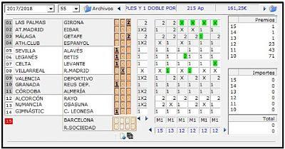 Resultados producidos el sabado en los partidos de la Quiniela de futbol de España