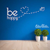 VINILO DECORATIVO FRASE BE HAPPY - W344