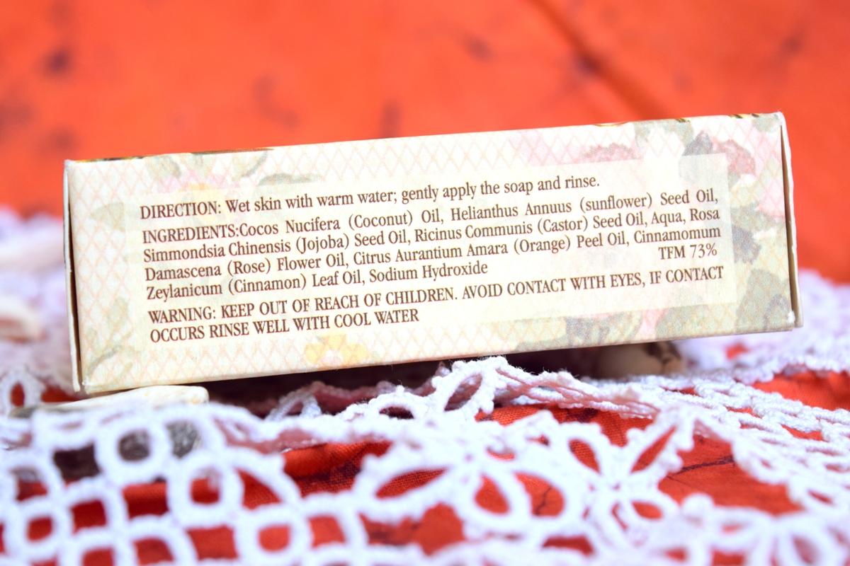 Kama Ayurveda Rose,Cinnamon & Orange Soap ingredients