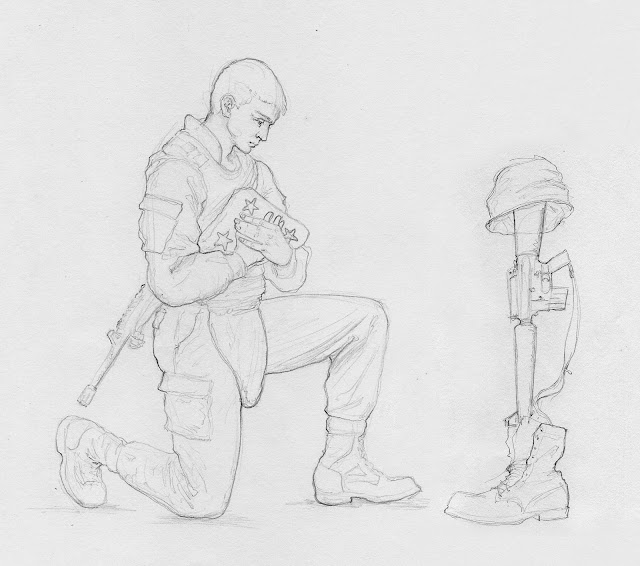 battlefield cross kneeling soldier