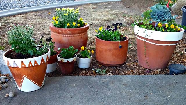 painted boho flower pots