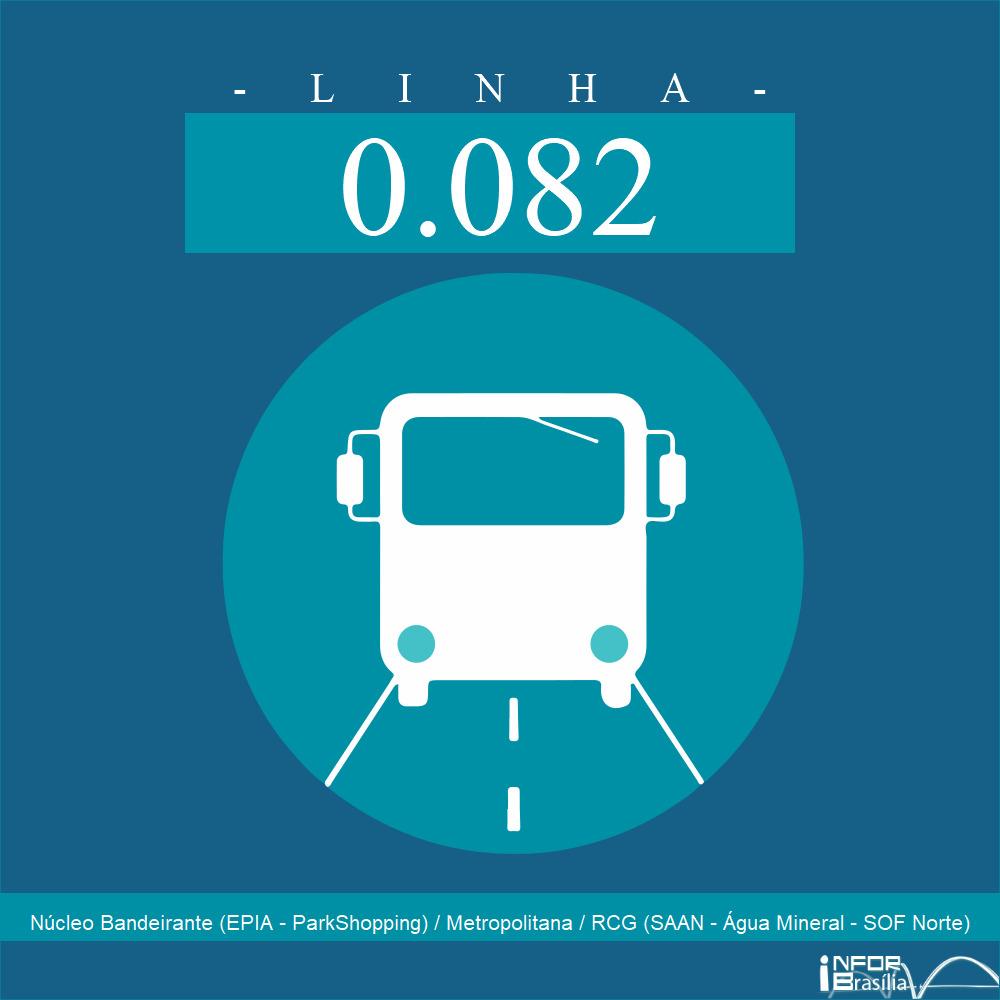 Horário de ônibus e itinerário 0.082 - Núcleo Bandeirante (EPIA - ParkShopping) / Metropolitana / RCG (SAAN - Água Mineral - SOF Norte)