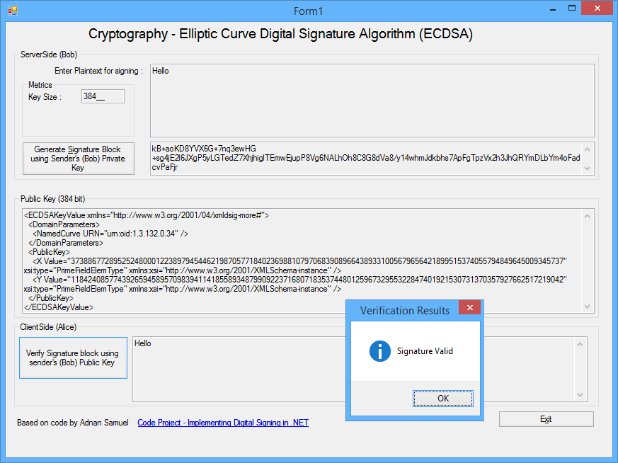 C# for Windows Desktop: C# -Elliptic Curve Digital Signatures