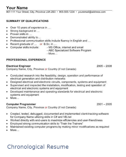 sample chronological resume page 1 - Free Canadian Resume Templates