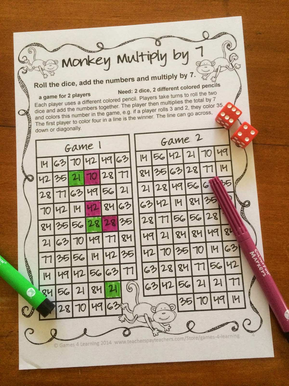 Fun Games 4 Learning More No Prep Math Games Freebies