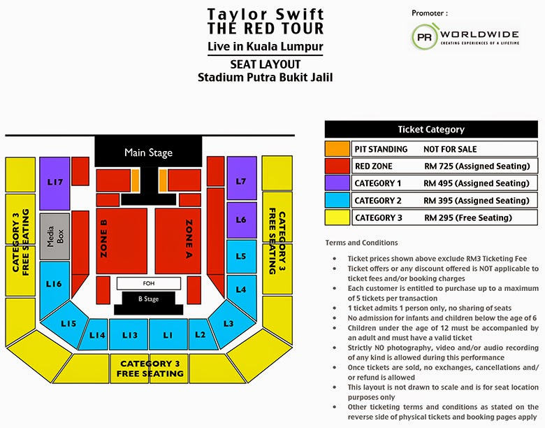 Taylor Swift The RED Tour Live in Kuala Lumpur Malaysia Seating Plan