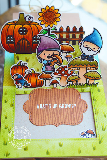 Sunny Studio Stamps: Sliding Window Home Sweet Gnome Fall Themed Card by Vanessa Menhorn
