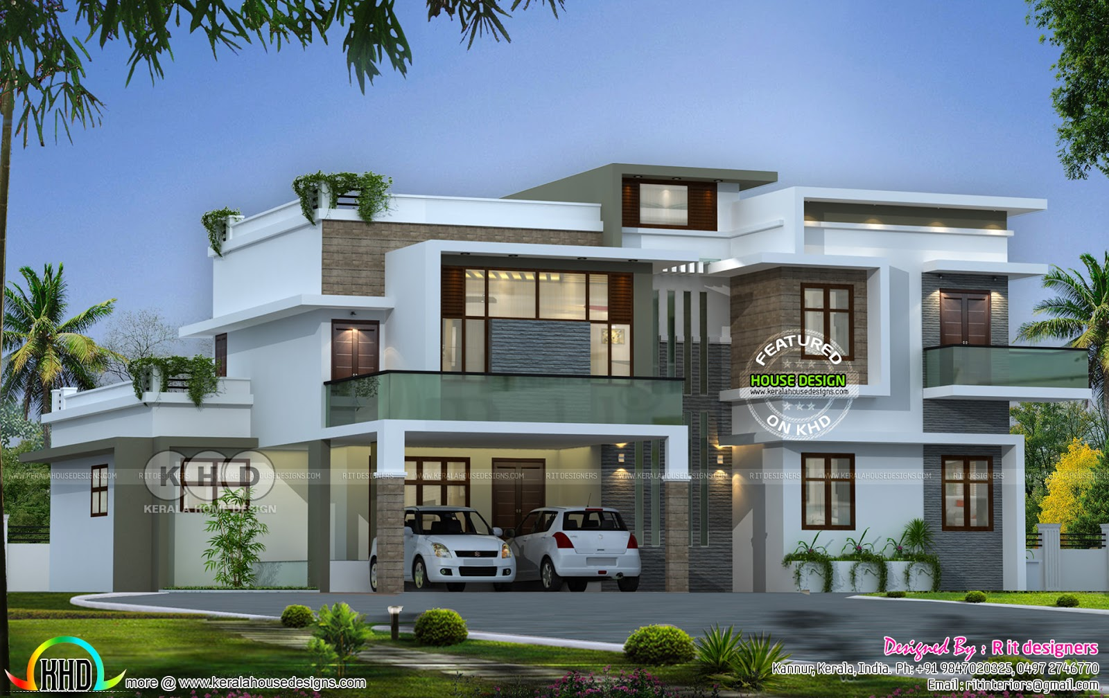 Flat roof contemporary 4 bedroom home kerala home design for Contemporary kerala house plans photos