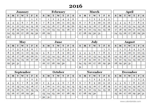 2016 Islamic Calendar With