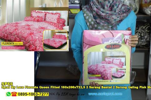 Sprei My Love Florenta Queen Fitted 160x200xT22,5 2 Sarung Bantal 2 Sarung Guling Pink Merah Jambu Bunga Dewasa