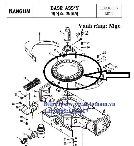 Vành răng quay toa- Mâm quay toa cẩu Kanglim KS2605-M1007934-SISO824