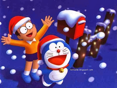 Doraemon's Nobita celebrating Christmas