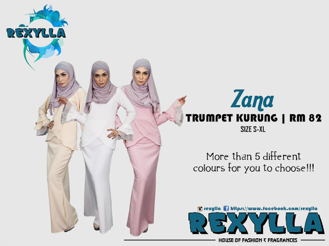 rexylla, trumpet kurung, zana collection