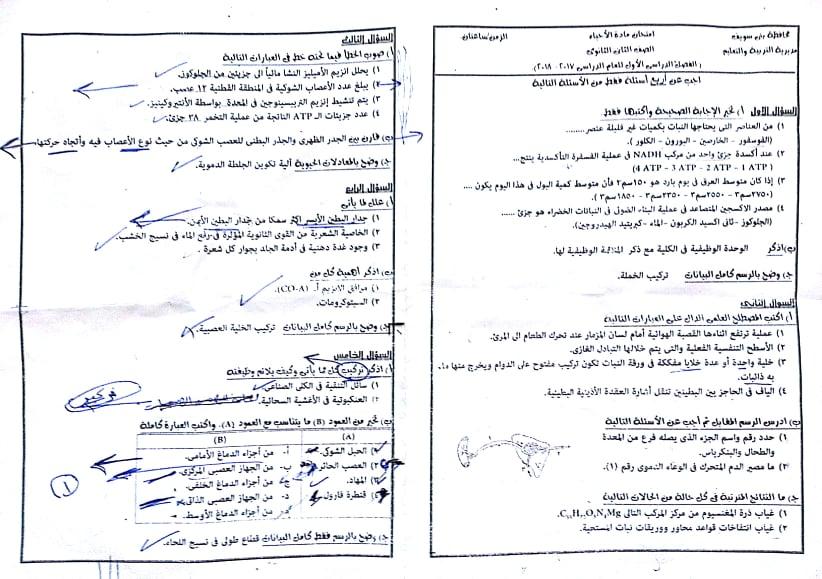 ورق إمتحانات الأحياء للصف الثاني الثانوي ترم أول محافظة بني سويف