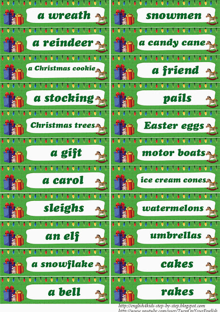 words for christmas flashcards for learning English