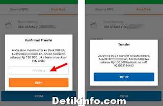 Input PIN untuk transfer via BRIS Online