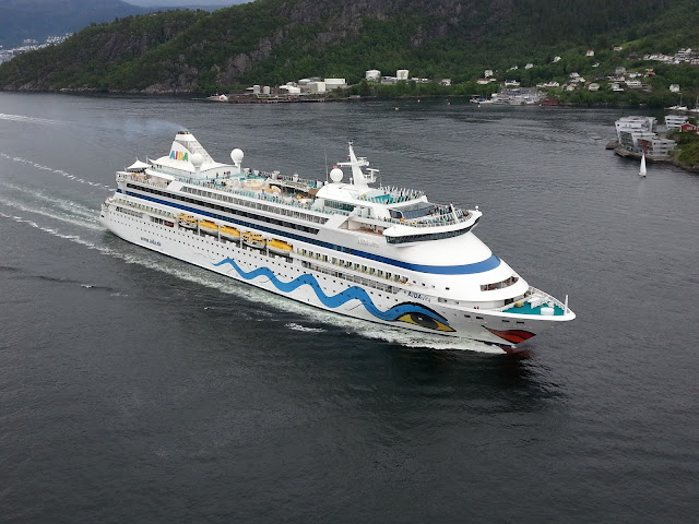 Cruise ship AIDAvita in Bergen, Norway; Cruise ship aerial view