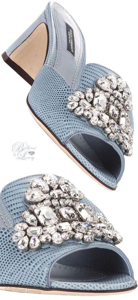 Brilliant Luxury ♦ Dolce & Gabbana crystal-embellished blue leather sandals