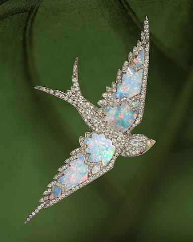 An antique opal brooch in the shape of a swallow sold by Bonhams for nearly £39,000