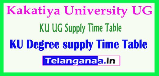 Kakatiya University KU UG Supply Time Table 2018 Download