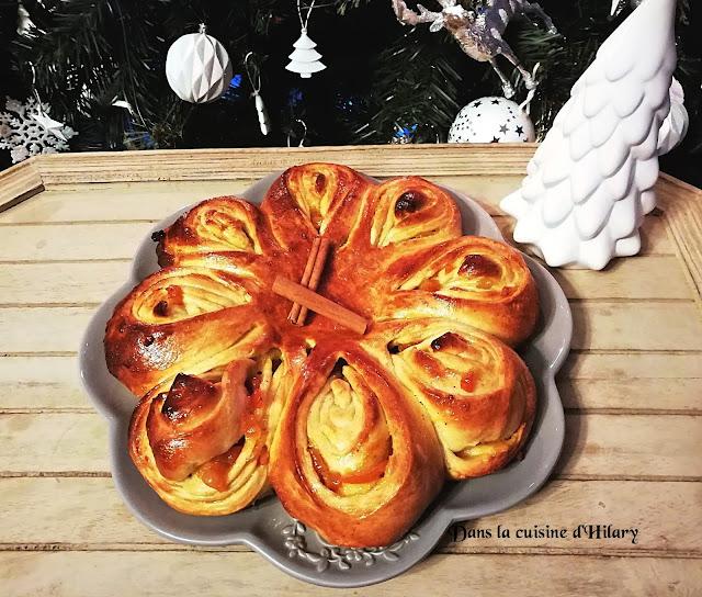 Brioche flocon aux épices de noël, orange et clémentine - Dans la cuisine d'Hilary