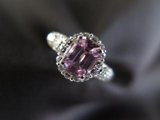 ピンクサファイア1.255ct ダイヤモンド取巻き Pt900 リング #13